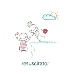 resuscitator holding the hand of a patient from vector image vector image