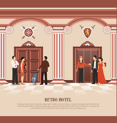 retro hotel elevator background vector image