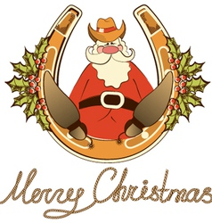 Santa in cowboy shoes sit on lucky horseshoe vector