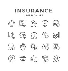 set line icons of insurance vector image