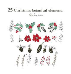 set of 25 christmas botanical symbols thin line vector image