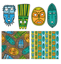 Set of ethnic seamless patterns with tribal vector