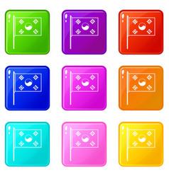 South korea flag icons 9 set vector