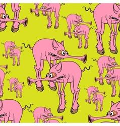 Strange pink pig vector