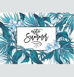 summer leaves vintage exotic greeting card vector image vector image