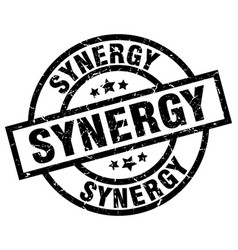 synergy round grunge black stamp vector image vector image