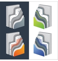 Thermal insulation polystyrene isolated wall vector