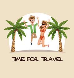 Time for travel couple jumping clothes beach palm vector