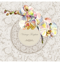 vintage template with watercolor orchid flower vector image vector image