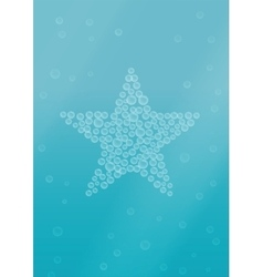 Water background with star shape bubbles vector image