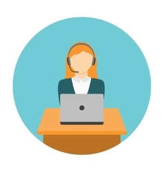 Woman working on laptop vector image