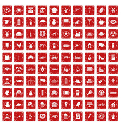100 mill icons set grunge red vector