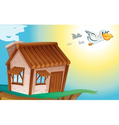 Wooden house and birds vector