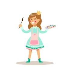 Girl painter with paint wearing a crown children vector