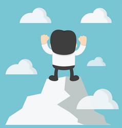 Businessman hands up on hilltop with joy vector