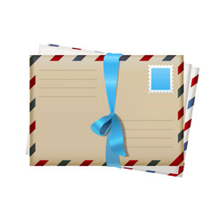 realistic mail envelopes with blue ribbon vector image