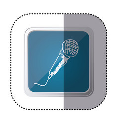 Blue symbol microphone instrument icon vector