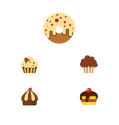 Flat cake set of confectionery doughnut cupcake vector