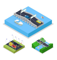 Isometric urban bridge road with cars and boat vector