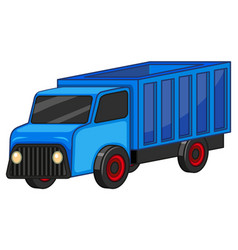 Blue truck on white background vector