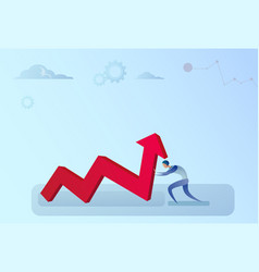 businessman holding financial arrow up successful vector image