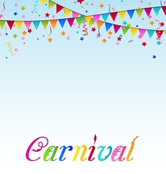 Carnival background with flags confetti text vector image