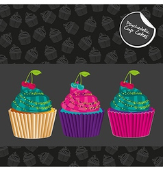Psychedelic cupcakes set isolated on black with pa vector