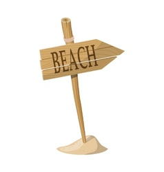 Wooden signpost indicating Beach direction vector image