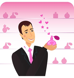 Man with pink perfume flacon vector