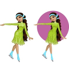 Cute young indonesian woman figure skater vector