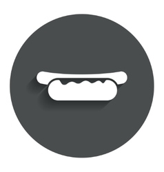 Hotdog sandwich with mustard icon sausage sign vector