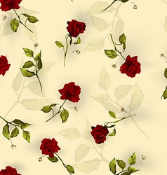 Seamless floral pattern with red roses on light vector