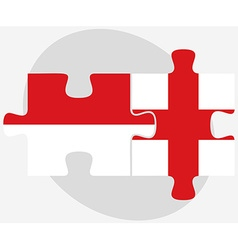 Indonesia and england flags in puzzle vector