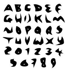 Creepy alphabet sharp fonts in black over white vector