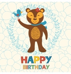 Happy birthday card with happy bear and bird vector