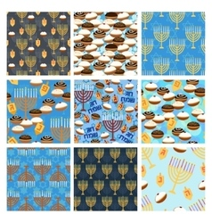 Hanukkah seamless pattern set vector