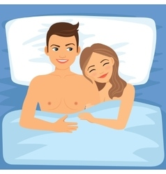 Happy couple in bed vector