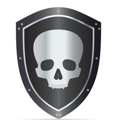 Black shield with skull vector