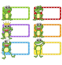 Square label with green frogs vector image