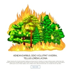 Forest fire fire in forest landscape damage vector