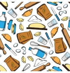 Baking ingredients and utensil pattern vector