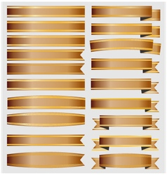 Bronze ribbons and banners with gold vector image vector image