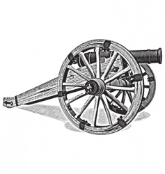 Cannon engraving vector