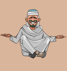 cartoon man in arab clothes sitting vector image vector image