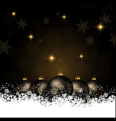 Christmas background with baubles nestled in snow vector