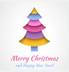 Colorful Merry Christmas greeting card with tree vector image vector image