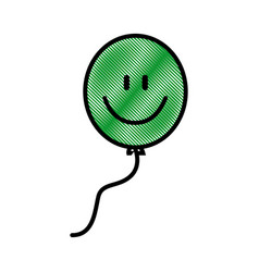 Drawing balloon smile funny decoration design vector