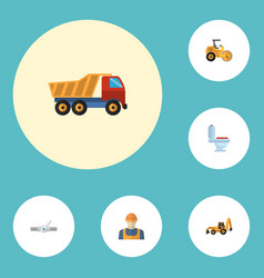 flat icons van worker excavator and other vector image vector image