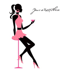 girl with martini vector image vector image