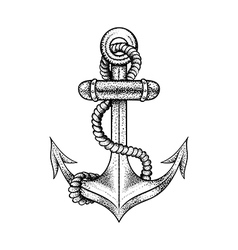 Hand drawn elegant ship sea anchor with rope black vector